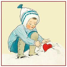 Vintage Valentine BoyPuts  Heart in Snow  Counted Cross Stitch Pattern