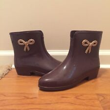 Mel Melissa Dark Purple Short Ankle Rubber Rain Boots Booties Bow Size 6