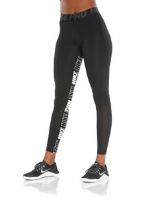 Nike Pro Dri Fit Black White Printed Leggings Pants Graphic Logo Medium M