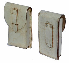 1960s White Leather Belt Pouch Real Thick Leather Vintage Italian Army Retro