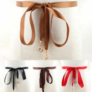 Women Ladies Skinny Lace-up Bowknot Waist Belt Female Dress Decoration Thin Belt