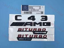 """black """"C43+ AMG + BITURBO"""" Letters Trunk Embl Badge Sticker for Mercedes Benz #3"""