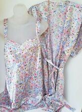 VANITY FAIR Embroidered Sleeveless Satin Nightgown + Robe SET Sleepwear MEDIUM