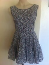 Ladies Navy Floral MISS CHERRY Dress Size 10 Party Summer Sleeveless Short