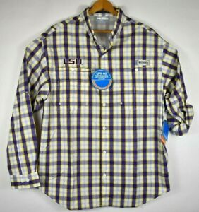 LSU Tigers Men Purple Plaid Super Tamiami Columbia PFG Fishing Shirt L NWT $80