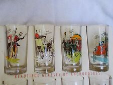 """Vintage Anchorglass Drinking Glass Tumblers - """"Gay Nineties"""" in the original Box"""