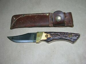 Vintage Schrade Uncle Henry USA 144 Fixed Blade Knife with Sheath
