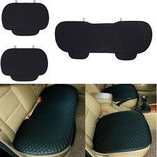 3Pcs Set Leather Non-slip Car Backseat Bench Front Seat Cushion Cover Case Black