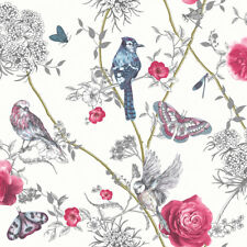 Arthouse Paradise Garden Birds White Glitter Floral Feature Wallpaper 692405
