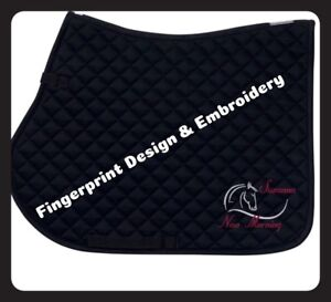 PERSONALISED embroidered Saddlecloth HENRY DESIGN **Various Colours FREE POSTAGE