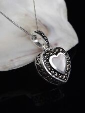 Sterling Silver 925 Marcasite Heart Pendant 18'' Necklace Mothers Day Gift Box