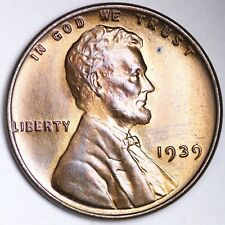UNCIRCULATED 1939 Lincoln Wheat Cent Penny FREE SHIPPING