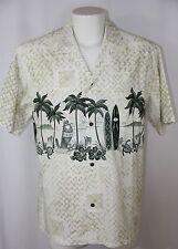Vintage Winnie Fashion Hawaiian Shirt White Surf Board Floral Men XL *Flaw Print