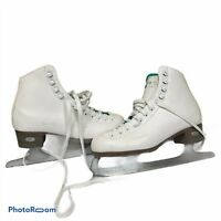Riedell Opal White Leather Ice Skates Sz 6