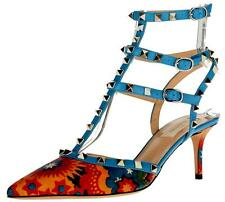 NEW VALENTINO ENCHANTED WONDERLAND ROCKSTUD LEATHER STRAPY PUMPS SHOES 37