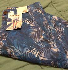 NWT mens young mens flex shorts Arizona, sz 26 blue tropical print, classic fit