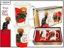 More details for set of 2 mugs french black cat carmani inspired from steinlein art cup gift