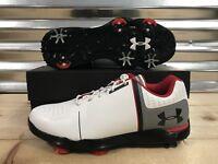 Under Armour UA Spieth One Jr Kids Golf Shoes White Black Youth SZ (1301154-108)