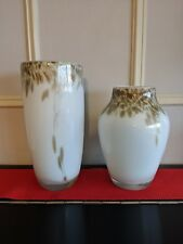 Two Beautiful Cream and Gold Decorative Vases for Home Decor