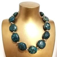 Green Agate Jasper Gemstone Bead Handmade Heavy Choker Statement Necklace