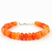 Orange Carnelian 194.00 Cts Earth Mined Round Shape Beads Bracelet - Hand Made