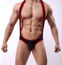 Mens Sexy Medium Black & Red Singlet Wrestling Nylon Spandex Bodysuit Gay UK