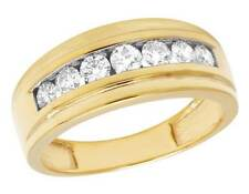 Men's 10k Yellow Gold Genuine Diamond Channel Wedding Band Ring 1 1/4 Ct 9mm