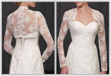 New bride long sleeve White/Ivory LACE Wedding Jacket/Bolero/Shrug Accessory