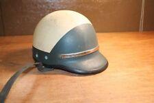 Original Vintage Police Bell Toptex Motorcycle Helmet Tan Green CHP L