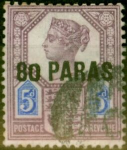 British Levant 1890 80pa on 5d Purple & Blue SG5a Small 0 Fine Used
