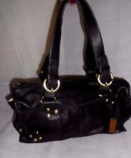 Women Black Shoulder Bag Double Straps Soft Real Leather Size Medium
