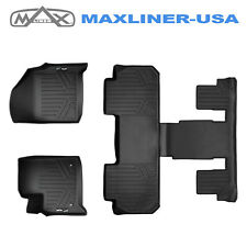 Smartliner Custom Fit Floor Mats 3 Row Set Black For 2018-2019 Chevy Traverse