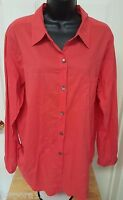 Chico's Design Womens Reddish Orange Button Down Shirt Top Blouse Size 3 XL