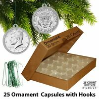 25 Direct Fit 30.6mm CHRISTMAS ORNAMENT Coin Capsules w/Hook for JFK HALF DOLLAR