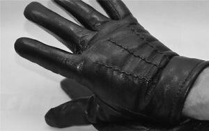Leder Lammfell Fingerhandschuhe Handschuhe Schwarz Gr. 9-12 NEU !!