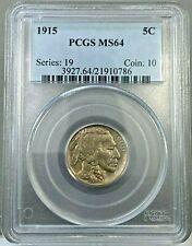 1915 5c Buffalo Nickel Coin PCGS MS64