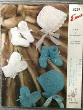 Emu Knitting Pattern: Baby Bonnets, Bootees & Mittens, 4ply 1-3mths 8229