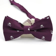 Purple Bow Tie White Skull Print Quirky Alternative Formalwear Wedding Party UK