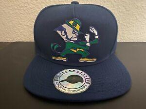 Vintage Notre Dame Fighting Irish Leprechaun Logo Snapback Hat Navy Blue NEW NWT