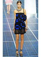 Chanel Blue Black Knit Checkered Colorblock Mesh Trim Strapless Dress SZ 38 NWT