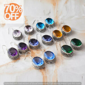Faceted Topaz  10 pair Wholesale Lots 925 Sterling Silver Plated Women Earrings