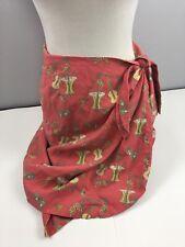 Tori Richard Honolulu Wrap Skirt 10 Ukeleles Drums Silk Blend Coral Sarong CC19