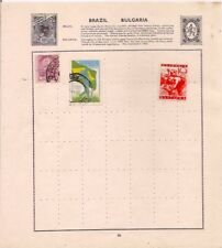 2 BULGARIA + BRAZIL stamps on an album page.