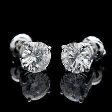 1.68 ct Round Cut Moissanite 14k White Gold Screwback Stud Earrings