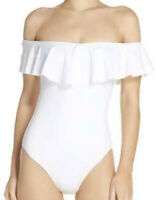 NWT Trina Turk White Gypsy Off The Shoulder One Piece Swimsuit Size 4