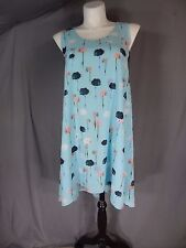 Adrianna Papell Sleeveless Blue Multi Floral Hi-Low Flare Dress Plus Size 14