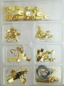 Picture Hanging Kit Mirror Photo Frame Hooks Brass Nail Wire Set Wall Art