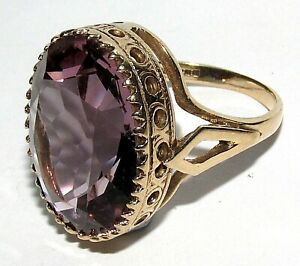 STUNNING SECONDHAND 9ct YELLOW GOLD AMETHYST COCKTAIL RING SIZE J 1/2