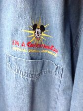 mens disneyana conventioneer long sleeve button collar denim shirt XL