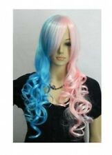 NEW Good pink blue long curly cosplay Split-Type WIG and with +GIFT